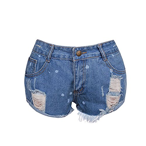 LiLiMeng Women Sexy Ripped Dot Print Crimping Raw Material Fray Hem Jeans Denim Shorts Worn Loose Shorts Pants