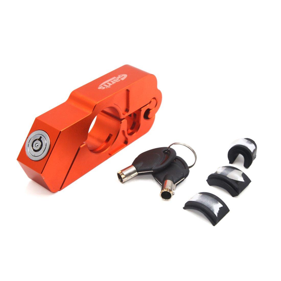 uxcell Universal Orange Motorcycle Handlebar Grip Brake Lever Anti Theft Caps Lock