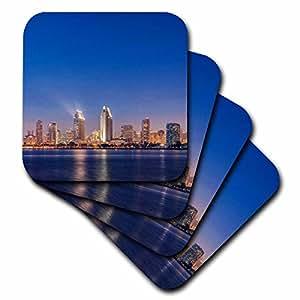 3dRose USA, California, Coronado Island, San Diego Skyline at Twilight. - Soft Coasters, set of 4 (cst_205705_1)