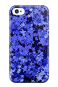 New Style Tpu 4/4s Protective Case Cover/ Iphone Case - Glittery Blue Stars