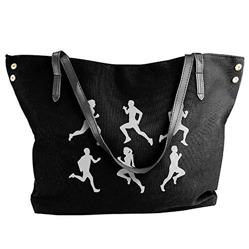 Black Women's Shoulder Large Handbags Running Canvas Handbag Silhouette Tote xrFw8zqOx