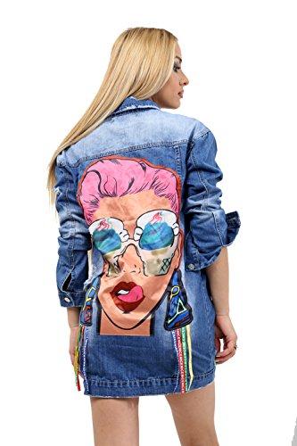 Veste Manches Bleu Femme 7 Road en Fashion Longues Blouson jean qxUYtTF