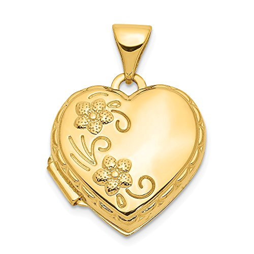 Jewel Tie 14K Yellow Gold Domed Heart Locket - (0.83 in x 0.63 ()