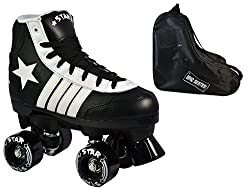New Epic Black Star Indoor / Outdoor Classic High-Top Quad Roller Skate 3 Pc. Bundle (Kids 1)