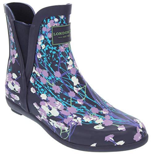 London Fog Womens Piccadilly Rain Boot Navy Whispy 9 M US