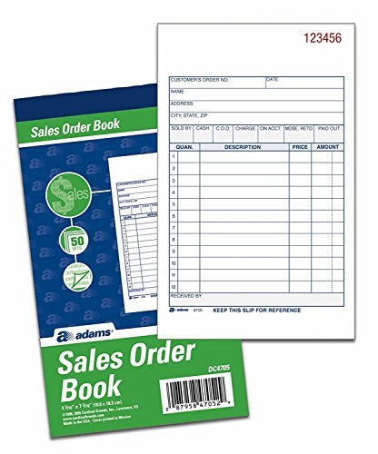 Adams Sales Order Books, 2-Part, Carbonless, White/Canary, 4-3/16 x 7-3/16 Inches, 50 Sets per Book, 6 Books