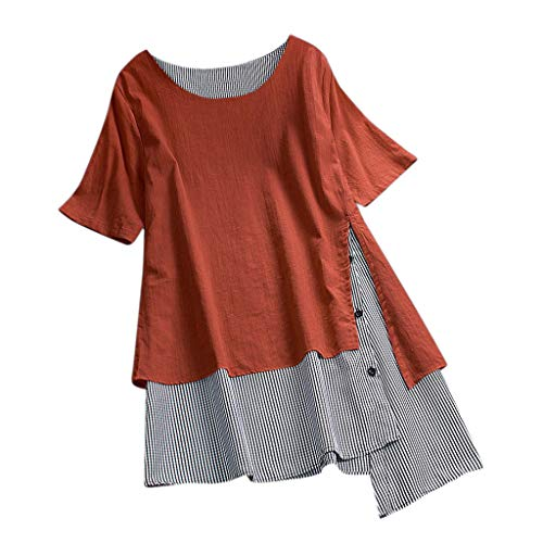 Women's Short Sleeve and Long Sleeve Round Neck Triple Color Block Stripe Casual Blouse Short Sleeve Casual Cold Shoulder Orange