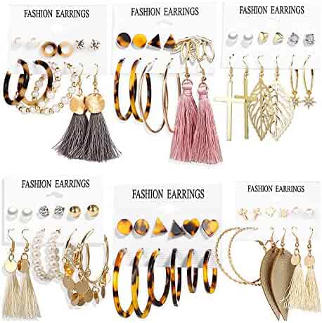 36 Pairs Fashion Earrings Set with Tassel for Women Girls Gold Cross Dangle Leaf Earrings Bohemian Acrylic Hoop Stud Earrings for Birthday/Party/Dinner/Christmas