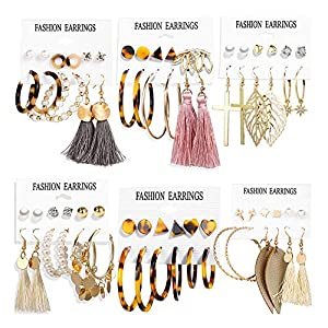 36 Pairs Fashion Tassel Earrings Set for Women Girls Gold Cross Dangle Leaf Earrings Bohemian Acrylic Hoop Stud Earrings…