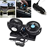 FidgetFidget Dual Fan Cooler Adjustable DC 12V 360° Rotating Mini Auto Car Air Cooling Handy