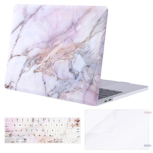 MOSISO MacBook Pro 13 Case 2018 2017 2016 Release A1989/A1706/A1708, Plastic Pattern Hard Shell & Keyboard Cover & Screen Protector Compatible Newest Mac Pro 13 Inch, Colorful Marble