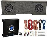Kicker 12-Inch 600W Subwoofers (2) + GMC Dual Sub Box + 1500W Amplifier + Wiring Kit