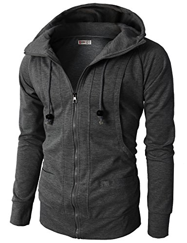 H2H Mens Fashion hooded Casual Slim Fit Jersey Zip up CHARCOAL US...