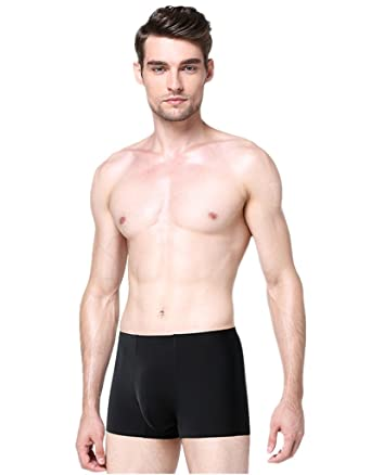 1aa5858a9315 ZukuLife Mens Ice Silk Anti-Bacterial Silver Crotch Medical Boxer Brief  Trunk (Black S