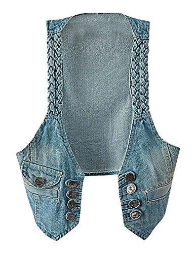 US&R Women Light Blue Buttoned Braided Shoulder Strap Cropped Denim Vest, LightBlue One (Braided Shoulder Strap)