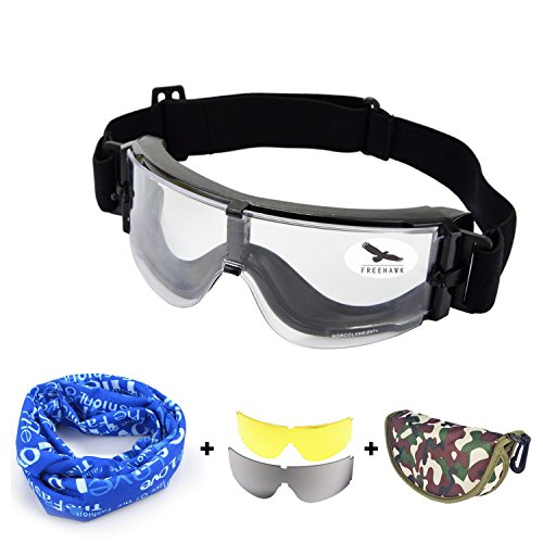 Freehawk New Version Adjustable Motorcycle Goggles Anti-fog Protective Combat Goggles Outdoor Tactical Goggles Set with 3 Lens + Blue Scarf by Freehawk