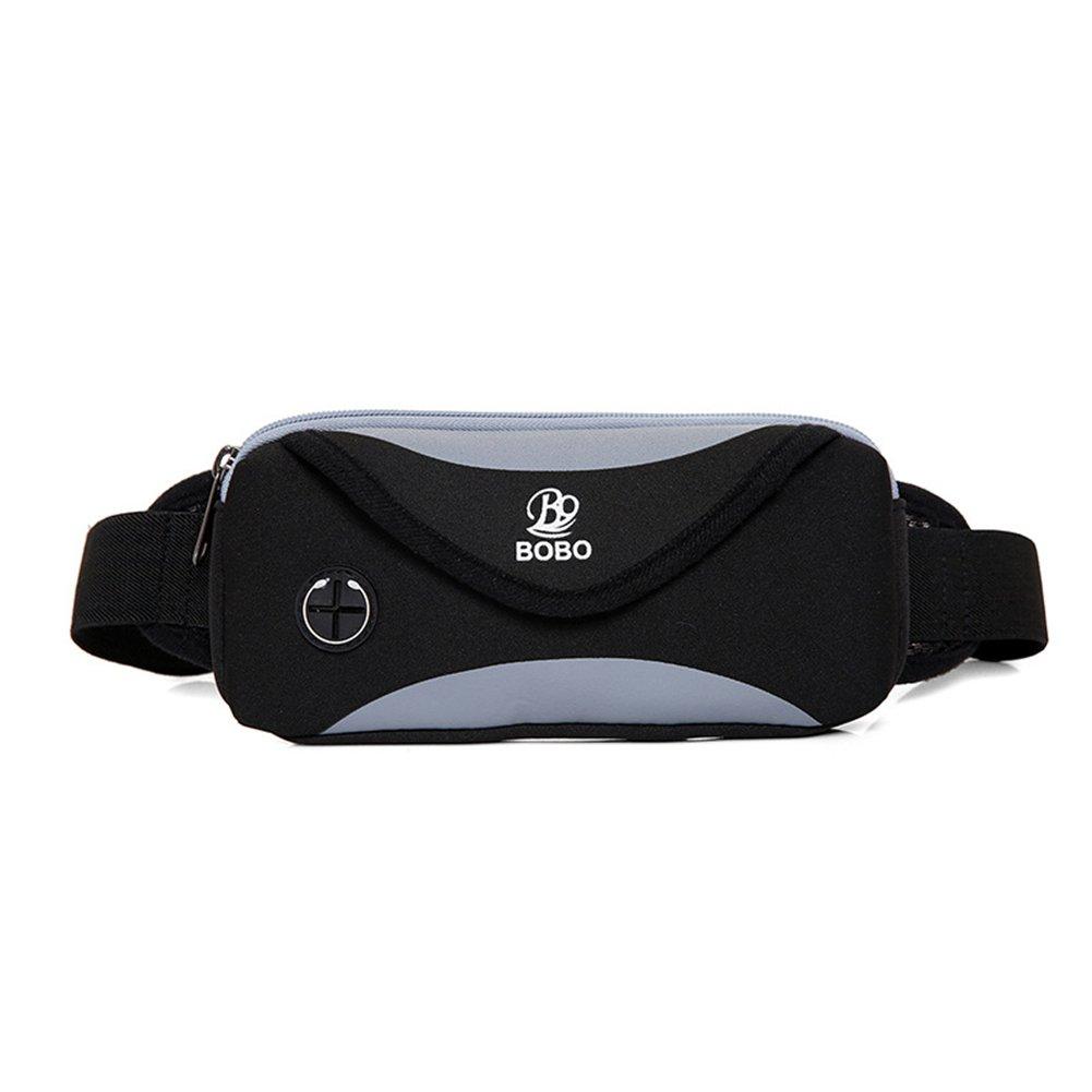 Bolso de la Cintura de los Deportes, Garyesh Nylon Ajustable Corriendo Cintura Bolsa con Auriculares Jack para Sostener su Teléfono, Llaves, Tarjetas o en Efectivo (Púrpura)