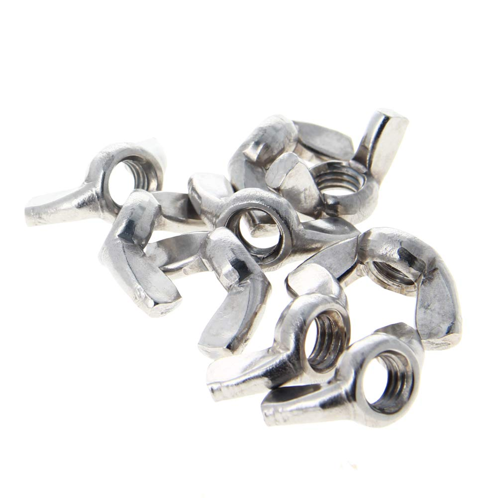 MroMax M6 Wing Nuts Thread Butterfly Nuts Stainless Steel 201 Hand Twist Tighten Ear Butterfly Nut Sliver Tone 5Pcs