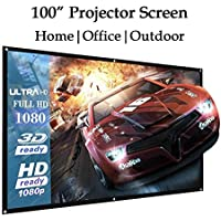 100 Inch Portable HD Folded Projector Screen Indoor Outdoor Movies TV Games High Quality Portable Home Theater Projector Projection Screen 16:9 Curtain