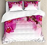 Spa 3D Duvet Cover Sets Bedspread for Adult Kids, Fitted Sheet, Pillowcase Twin Size, 4pc Luxury Bedding Set Blossoming Orchid Branch Exotic Nature with Feng Shui Elements Spa Zen Garden Botany
