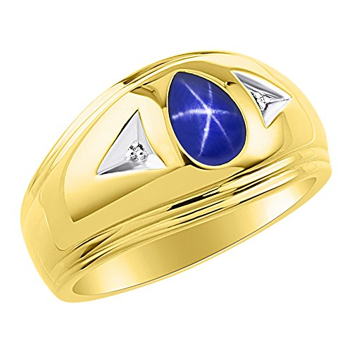 Timeless Pear Shape Blue Star Sapphire & Natural Diamond Ring Yellow Gold Plated Silver .925 by Rylos
