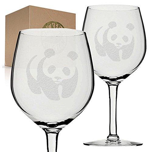 Stickerslug Engraved Panda Bear Wine Glasses, 11 ounce, Set