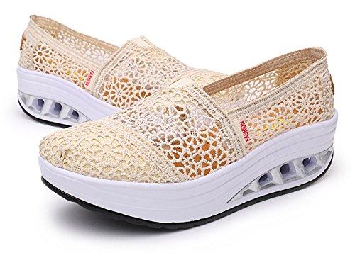 Ausom Kvinners Slip-on Pustende Plattform Kiler Toning Sko Walking Fitness Trene Sneaker Beige