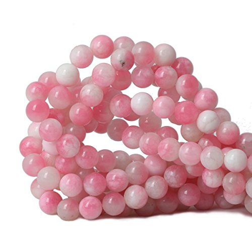Qiwan 35PCS 10mm Dreamy pink dyed Round Stone Loose beads for Jewelry Making Diy Bracelet Necklace 1 Strand 15