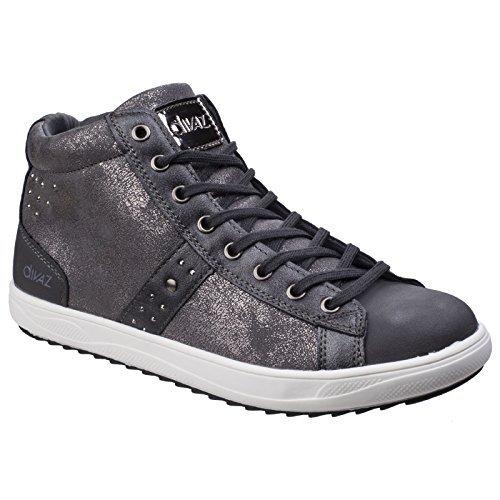 Steffy Trainer Divaz Boots Grey Metallic Ladies Womens Embellished Casual wnqES1f7q