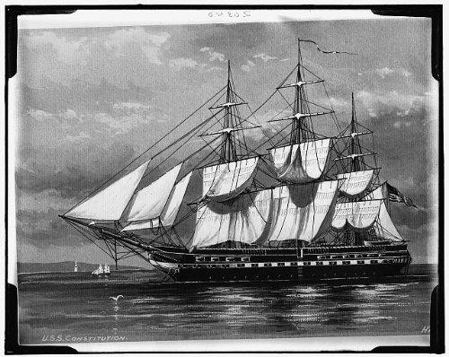HistoricalFindings Photo: USS Constitution port broadside,American warships,Detroit Publishing Co,1900 ()