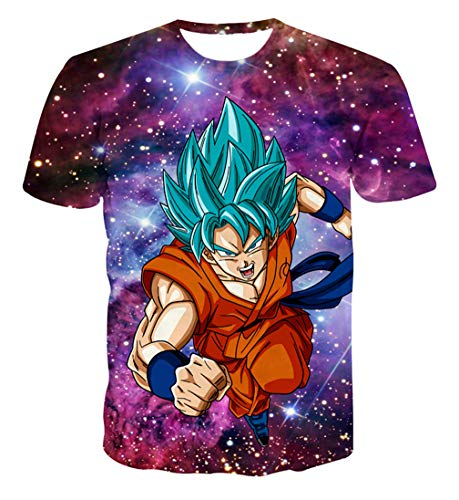 Only Beautiful Womens Mens Fashion 3D Print Dragon Ball Z Goku Vegeta  T-Shirt Pullover Anime Chic Short Sleeve Tee Top #A1 (L, 01)
