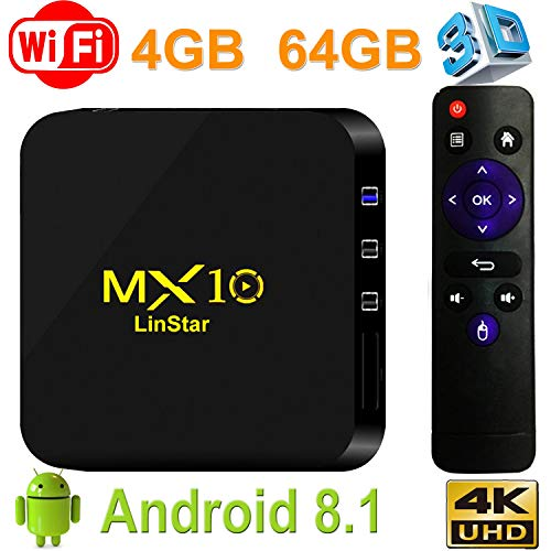 Android 8.1 TV Box, Yongf MX10 4G 64G Smart 4K TV Box RK3328 Quad Core with 4K (60Hz) Full HD / H.265 / WiFi Set Top Box with 3D TV 4K Ultra HD