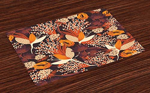 Ambesonne Autumn Place Mats Set of 4, Fall Season Bouquet Leaves Artistic Rust Toned Herbs Blooms Wedding Botanical Print, Washable Fabric Placemats for Dining Room Kitchen Table Decor, Multicolor