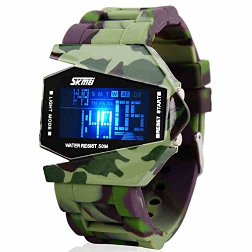 Bo Yi Military Cool LED Display Colorful Light Digital Sport Stealth Fighter Style Army Camo Silicone Watch