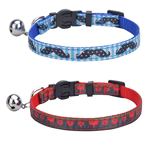 Bell Collar Designer - BINGPET 2 pcs/Set Nylon Personalized Adjustable Cat Breakaway Collar with Bell