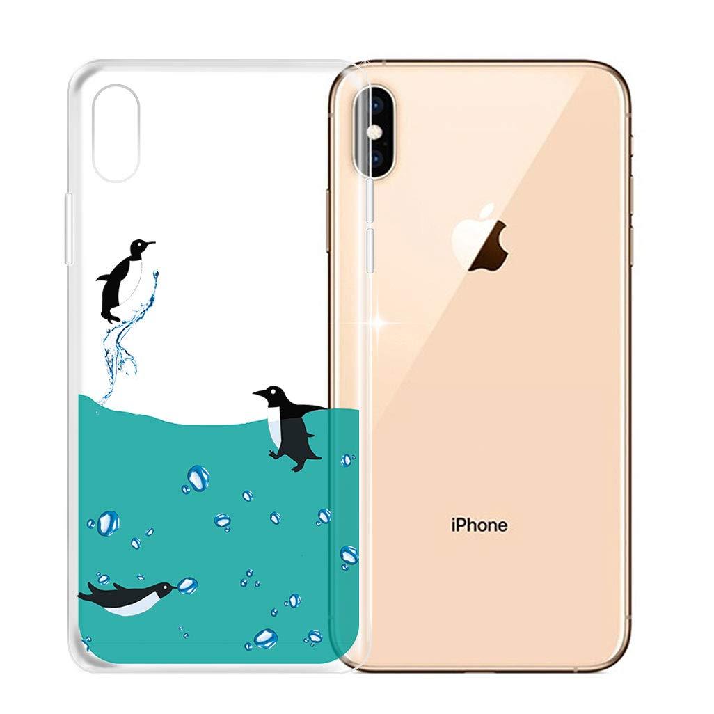 Case Trasparente Unicorno Carino TPU Silicone Morbida Protezione Case Protettivo Skin Cover Custodia per Apple iPhone XS 5.8 HHUAN Custodia per Apple iPhone XS 5.8