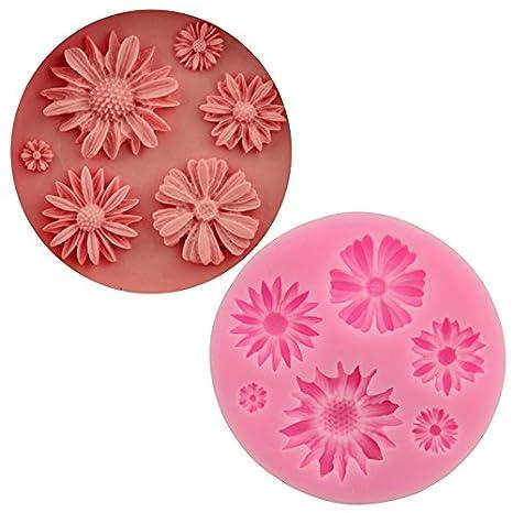 Wa Moldes para tartas de silicona con forma de flor de sol, molde