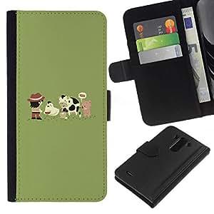 NEECELL GIFT forCITY // Billetera de cuero Caso Cubierta de protección Carcasa / Leather Wallet Case for LG G3 // Funny Farm Cute Animals