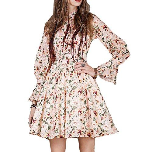 Kleider A Mini Damen Retro Linie DISSA Langarm Partykleid Rosa Kleid LHA8163 tBw6n8