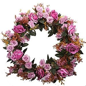 Duovlo Rose Floral Twig Wreath 19 Inch Handmade Artificial Flowers Garland Front Door Wreath (Lavender)