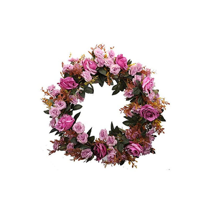 silk flower arrangements duovlo rose floral twig wreath 19 inch handmade artificial flowers garland front door wreath (lavender)