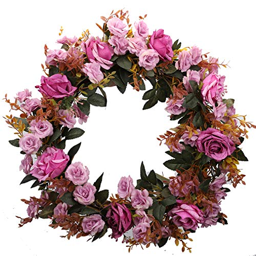 Duovlo Rose Floral Twig Wreath 19 Inch Handmade Artificial Flowers Garland Front Door Wreath (Lavender)