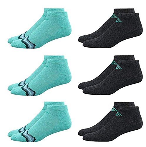 Columbia Women's 6 Pack No Show Ankle Performance Athletic Running Sport Socks (Turquoise/Black)