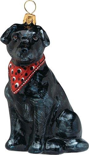 (Joy to the World Collectibles European Blown Glass Pet Ornament, Labrador Retriever Black with Bandana)