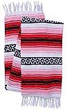 El Paso Designs Genuine Mexican Falsa Blanket - Yoga Studio Blanket, Colorful, Soft Woven Serape Imported from Mexico (Cherry)