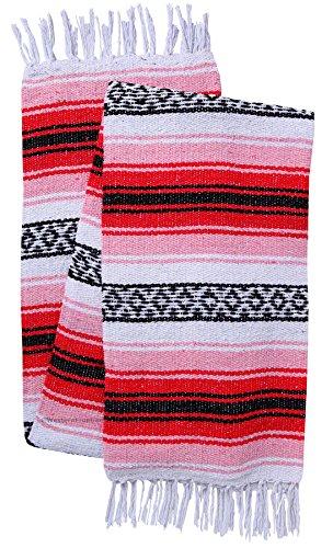 El Paso Designs Genuine Mexican Falsa Blanket - Yoga Studio Blanket, Colorful, Soft Woven Serape Imported from Mexico (Cherry) by El Paso Designs (Image #6)