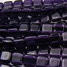 Czechmate 6mm Square Glass Czech Two Hole Tile Bead - Tanzanite