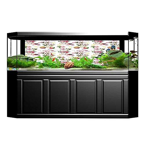 JiahongPan Fish Tank Background Roses Teapots Leaves Cakes Lemon Art Print PVC Aquarium Decorative Paper L29.5 x H19.6