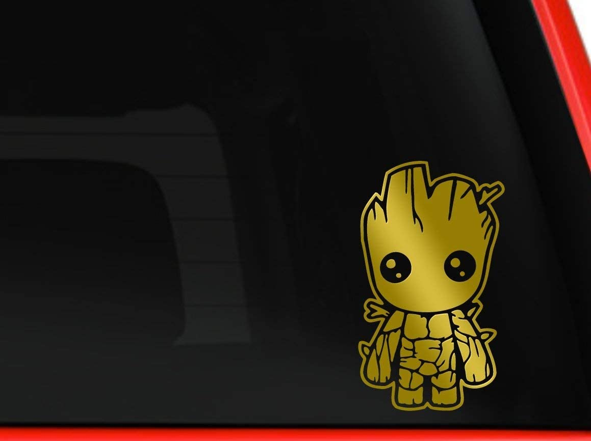 HavenSticks - Cute Baby Groot from Guardians of The Galaxy The Marvel Decal Sticker for Windows, Cars, laptops, etc. (5.5, Gold)