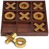 """REFINERY AND CO. 10 Piece Premium Solid Wood Tic-Tac-Toe Board Game, Giant Gold 14"""" Outdoor/Indoor Party Set Toy For Children/ Adults, Perfect For Backyard Entertainment, Classic Coffee Table Home Déc"""